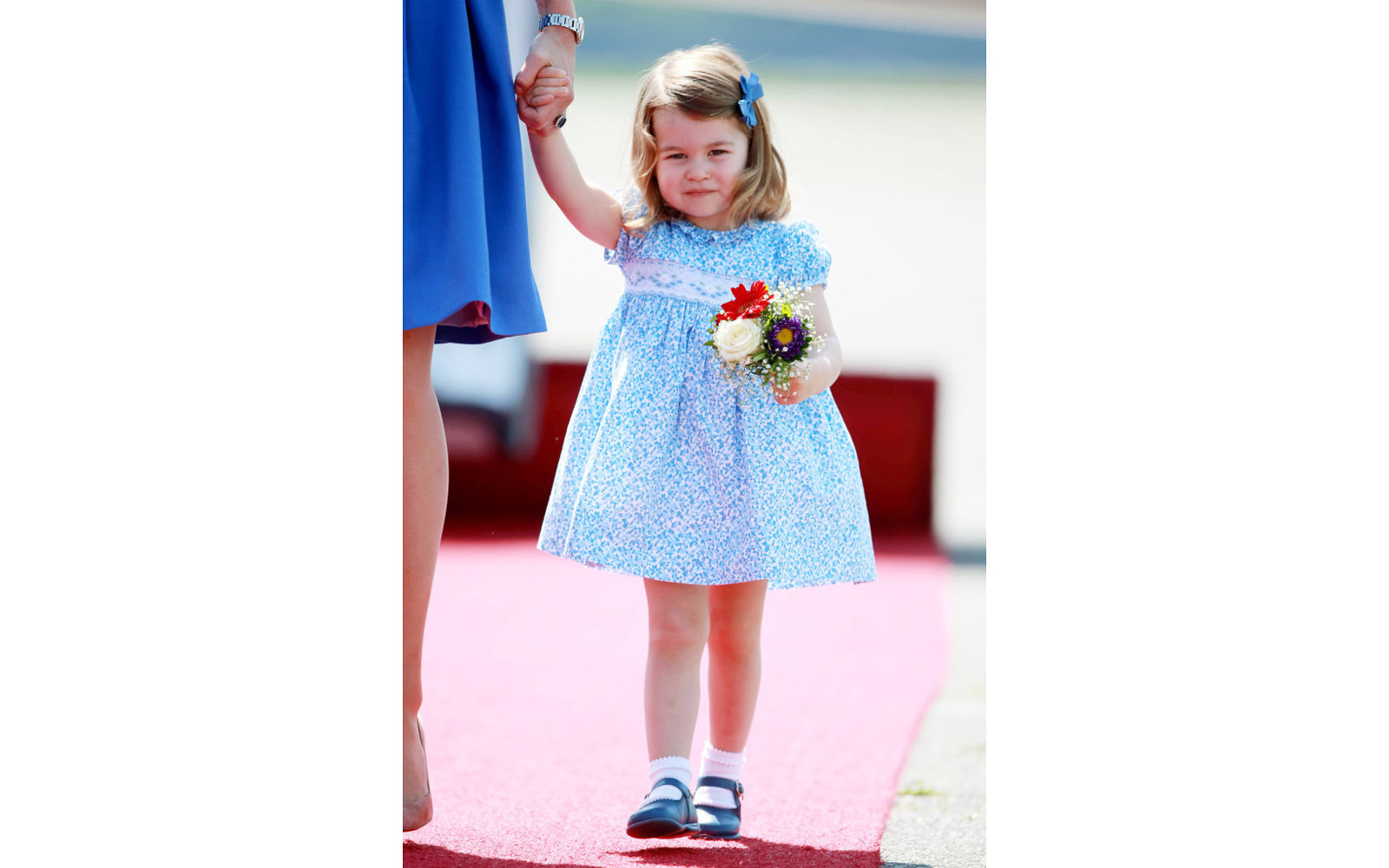 Princess Charlotte of Cambridge arrives at Berlin military airport during an official visit to Poland and Germany on July 19, 2017 in Berlin, Germany.