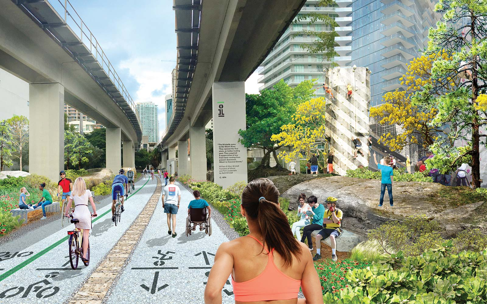 The Underline Urban Redevelopment Project James Corner Field Operations Brickell Park Miami Florida Rock Climbing