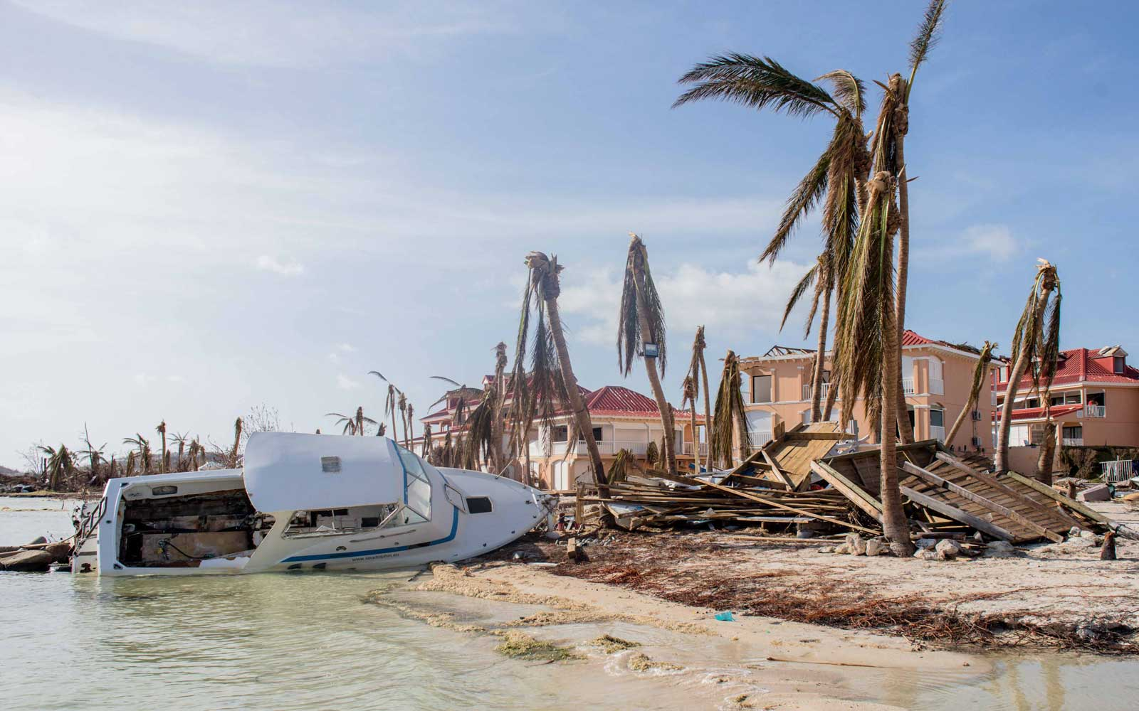 Hurricane damage on the island of Saint Martin after the passage of the hurricane IRMA through the Caribbean Islands on September 11, 2017 in the French island of Saint Martin