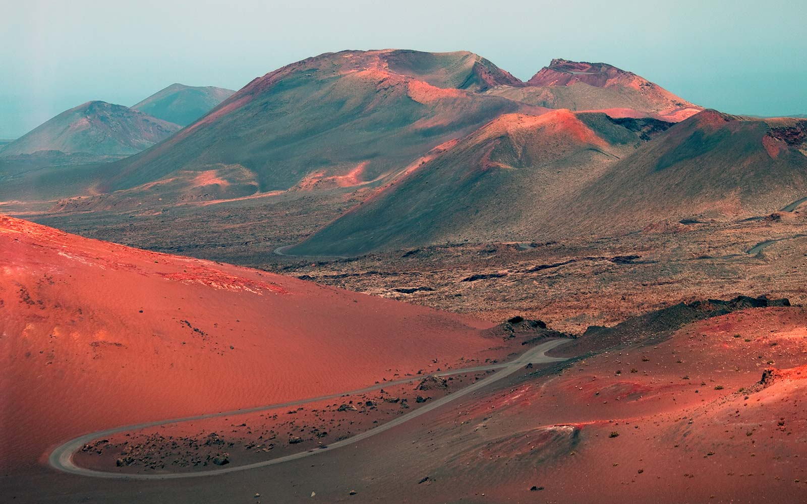 Volcanic landscape of Timanfaya Volcano Park on Lanzarote in Canary Islands Spain