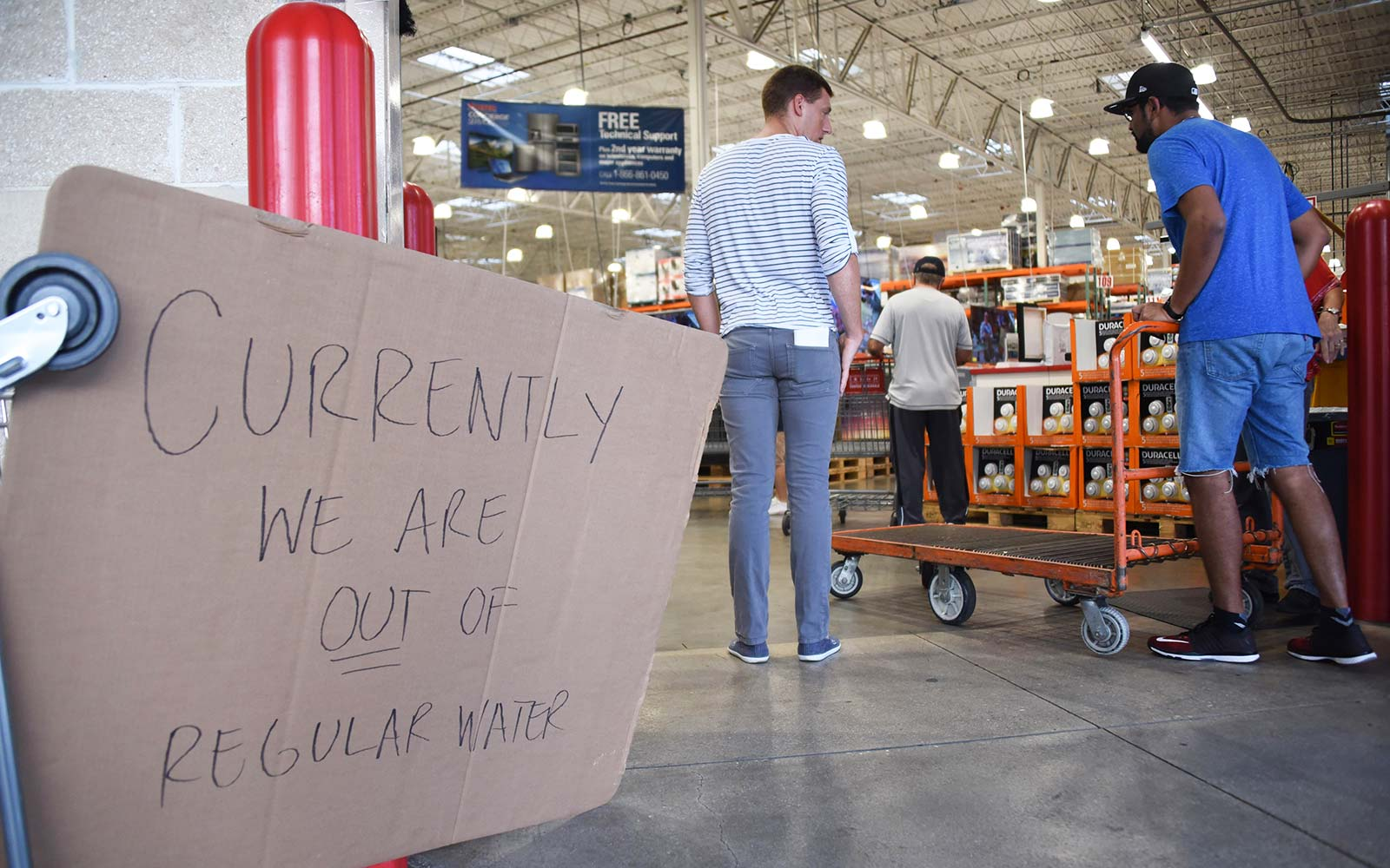 Costco ran out of water as people shop to prepare for Hurricane Irma on September 5, 2017 in North Miami.The monster hurricane coming on the heels of Harvey, which struck Texas and Louisiana late last month, is expected to hit a string of Caribbean islan