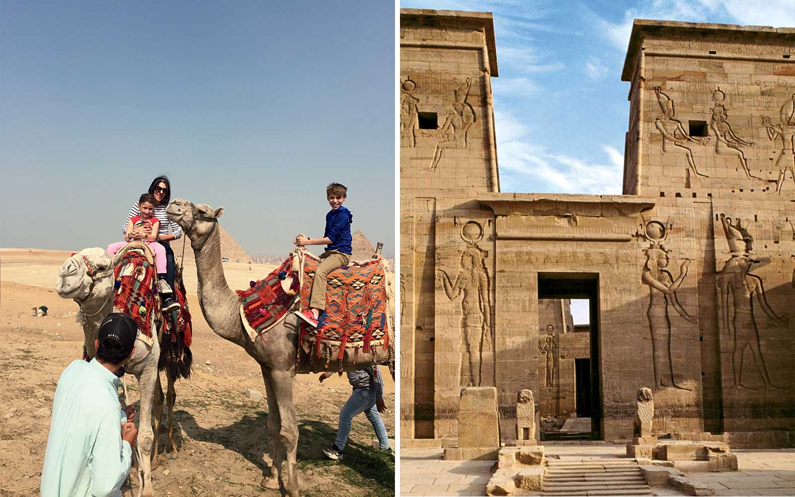 Heidi Mitchel and Kids Riding Camels in Egypt; Temple of Isis