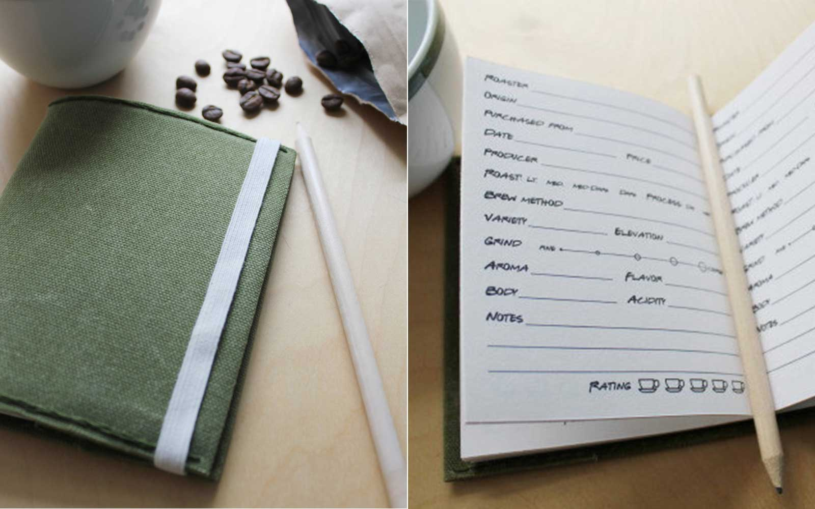 Coffee Tasting Waxed Canvas Refillable Journal