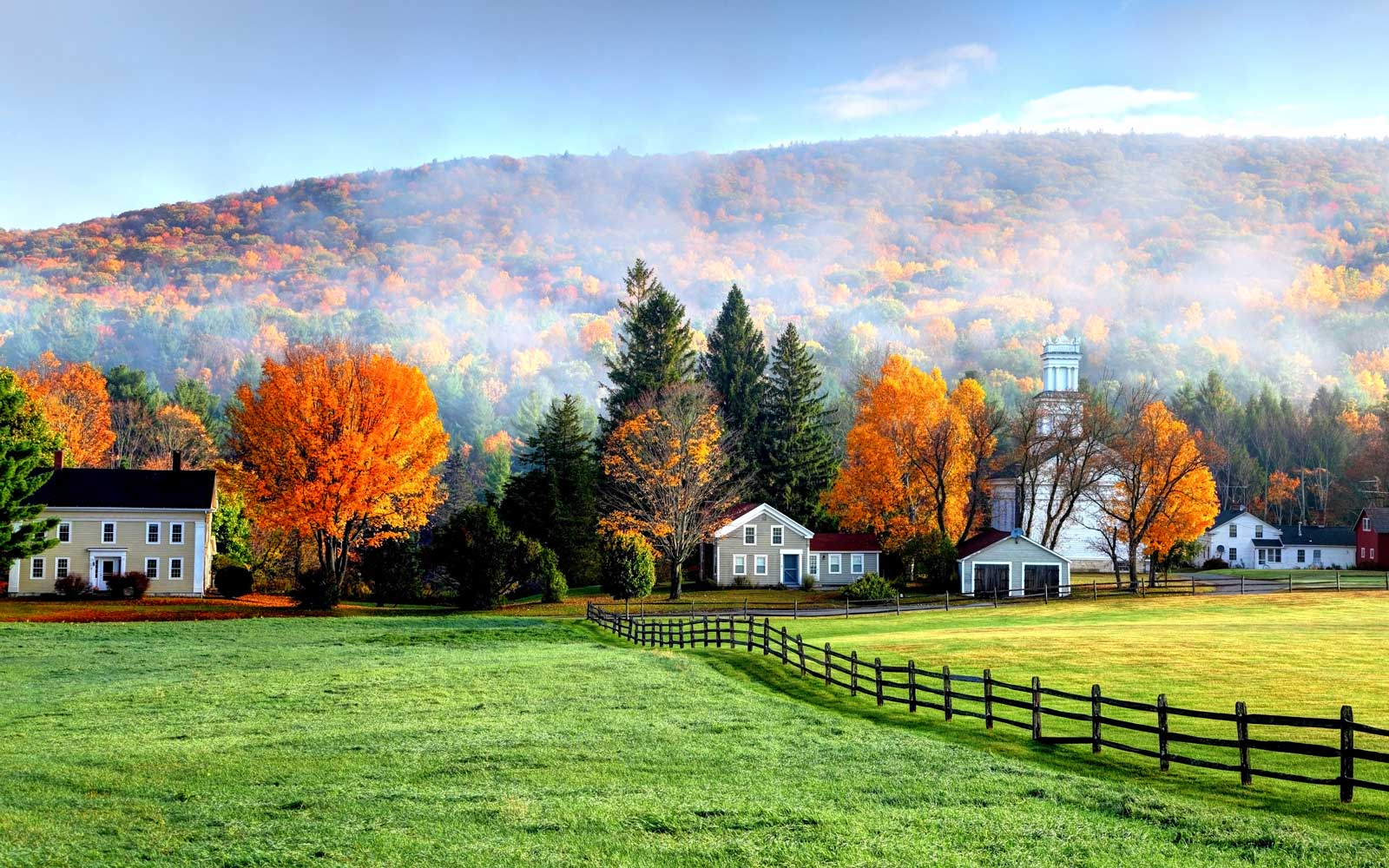 Autumn mist in the village of Tyringham in the Berkshires, Massachusetts