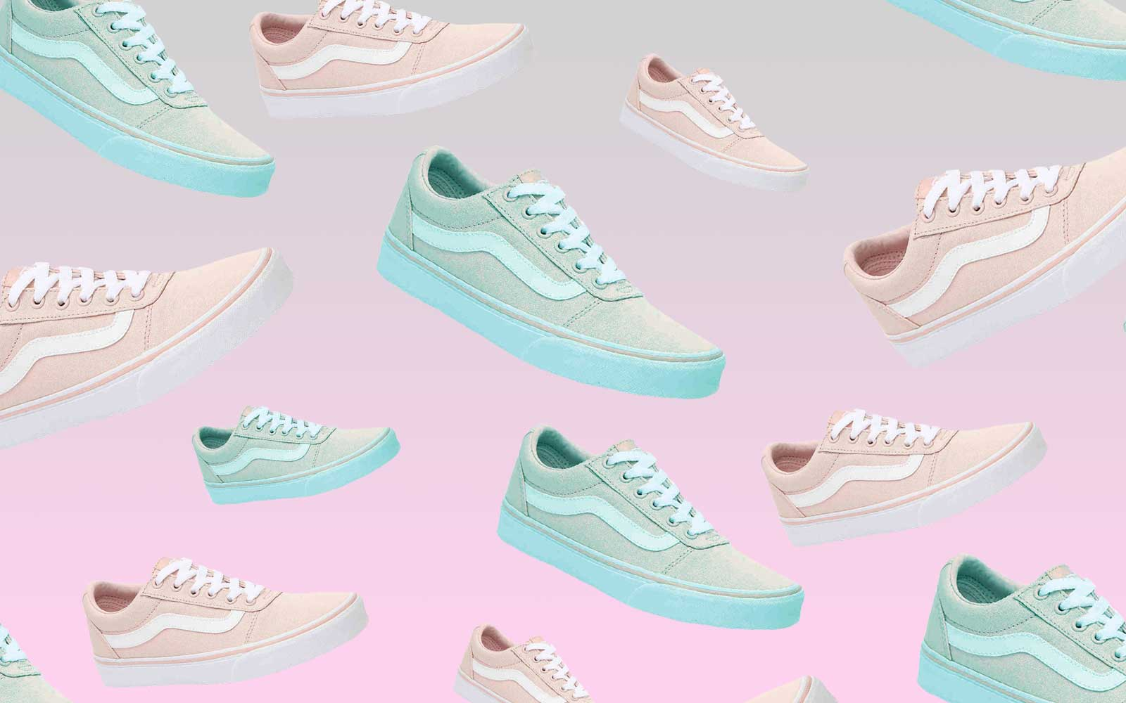 Pink and White/Grey and Teal Vans