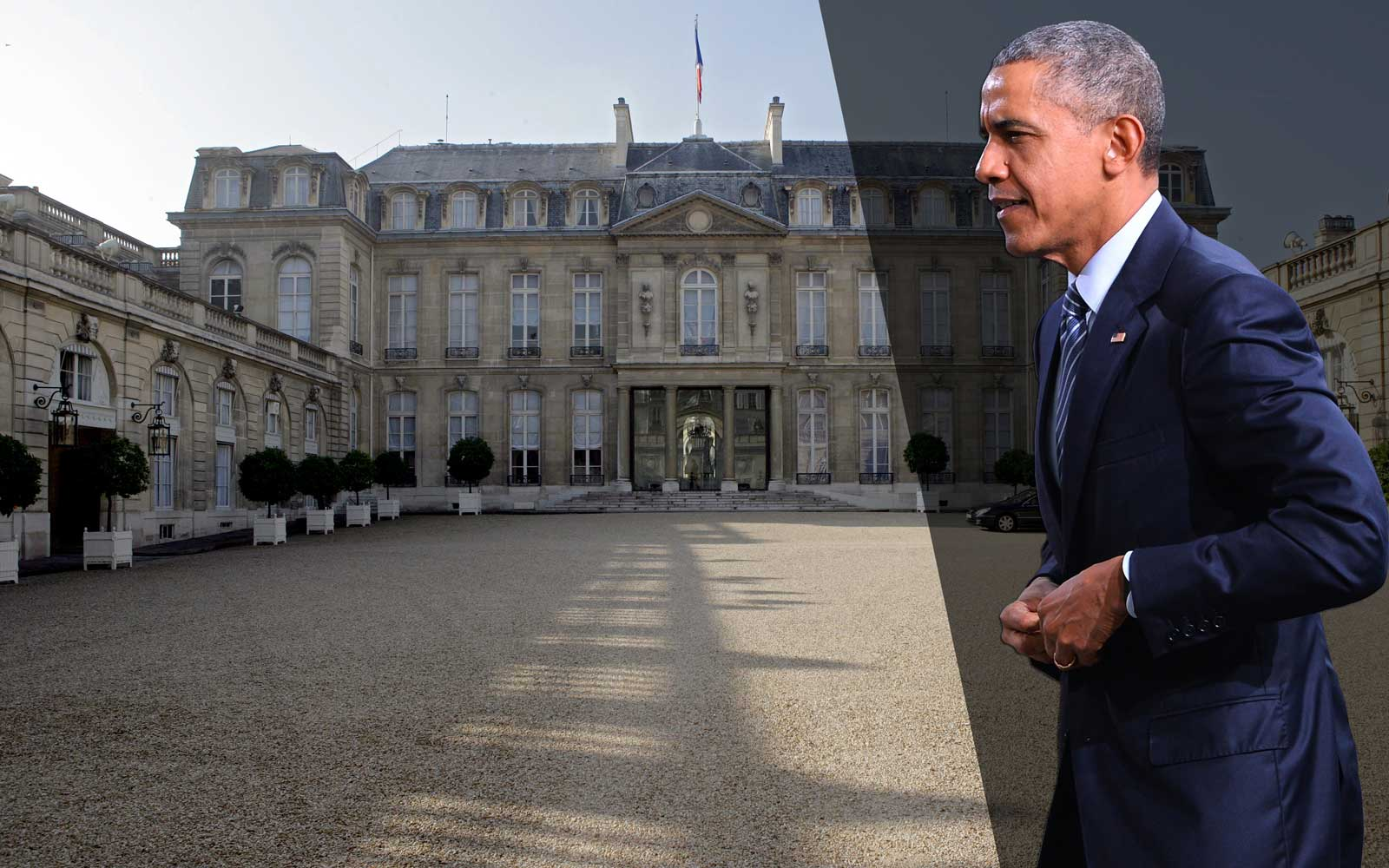 Barack Obama in front of Elysee palace