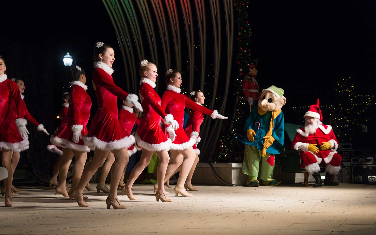 December 03, 2016 Rock Hill, SC Children and adults enjoy performances by the Rockettes during Christmasville in Old Town