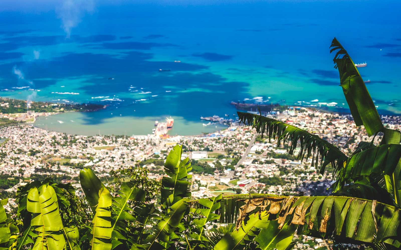 Aerial view to Caribbean town. Puerto Plata, Dominican Rep.