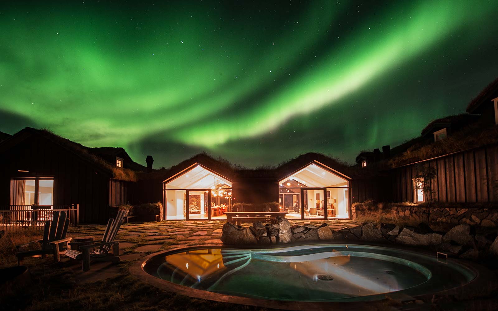Deplar Farm retreat Iceland Eleven Experience Northern Lights hot tub jacuzzi