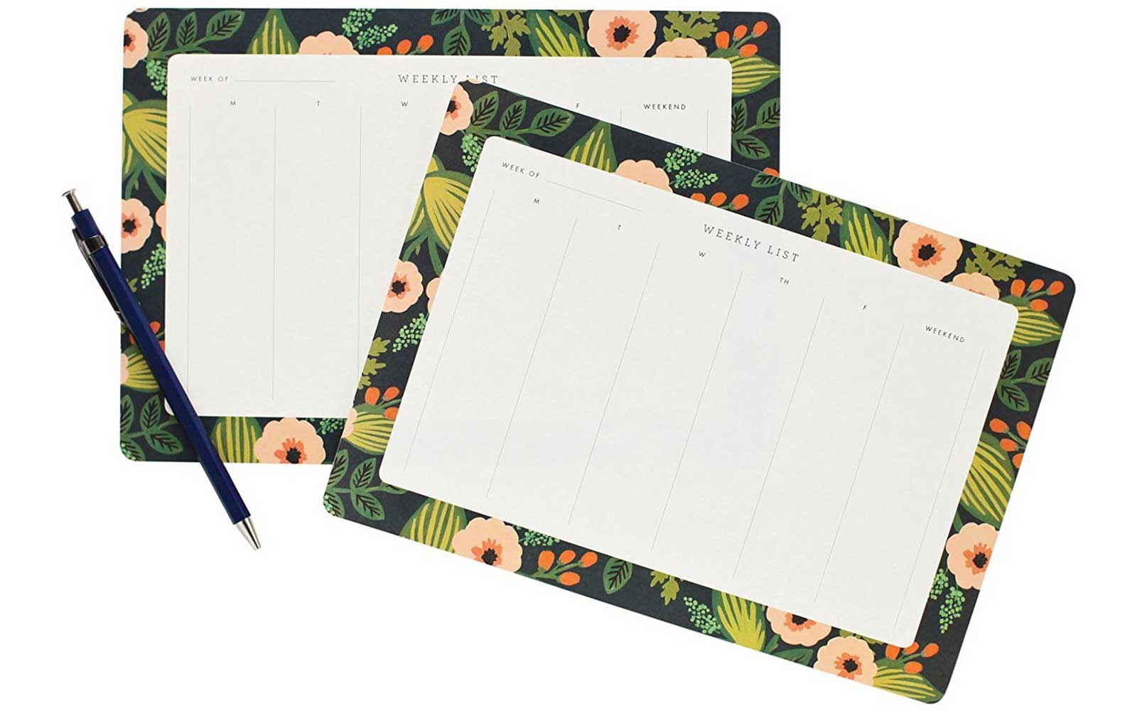 Flower printed weekly desk planners