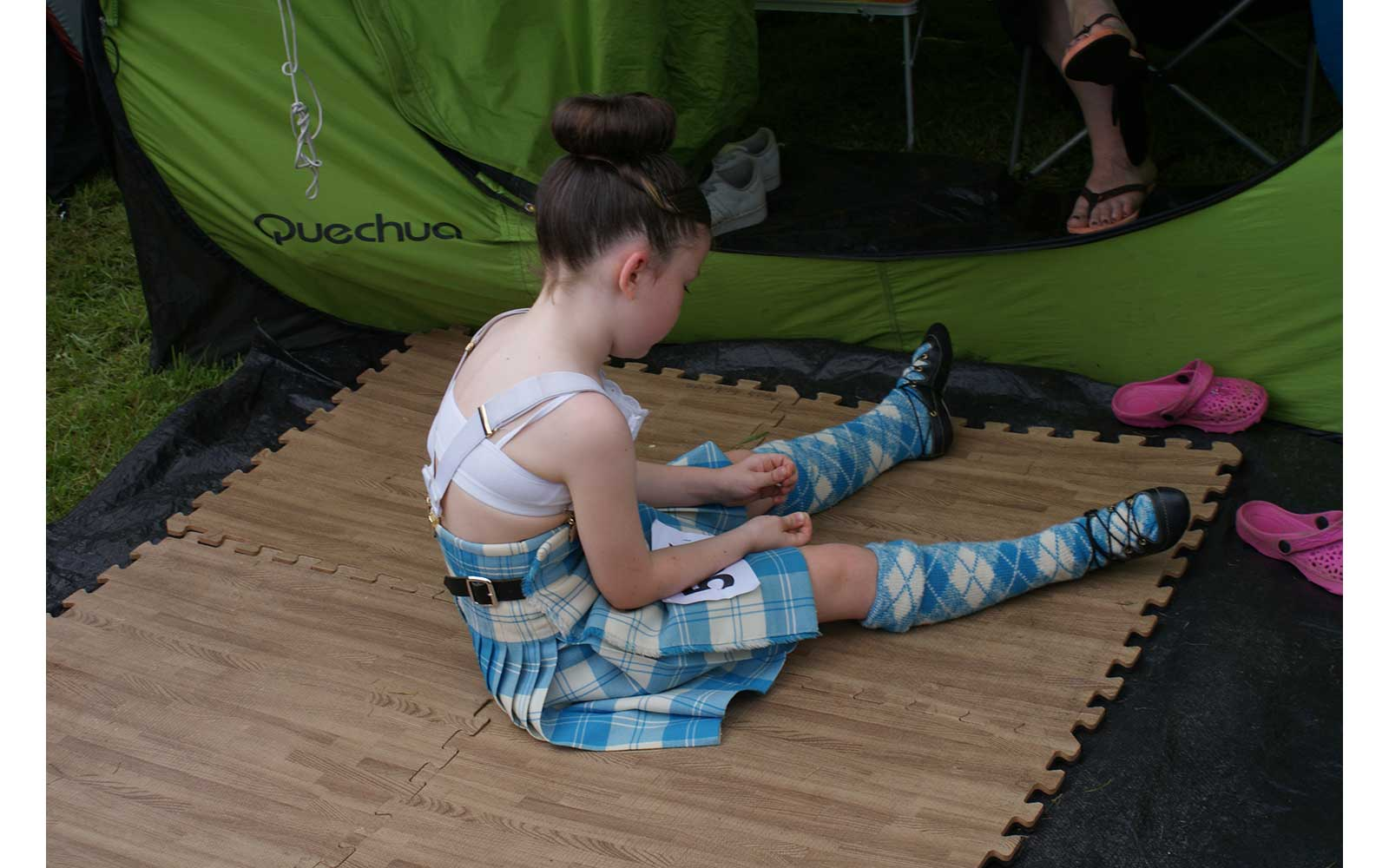 Girl waiting to compete in a dance competition