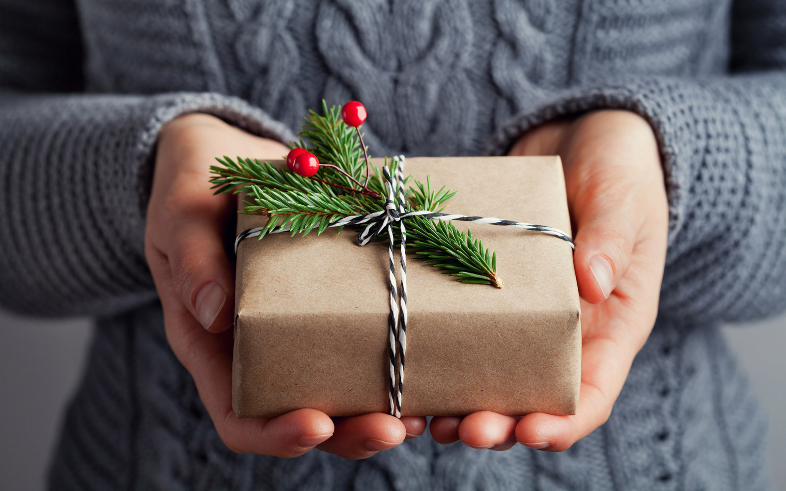 Woman hands holding christmas gift or present box. Holiday concept.