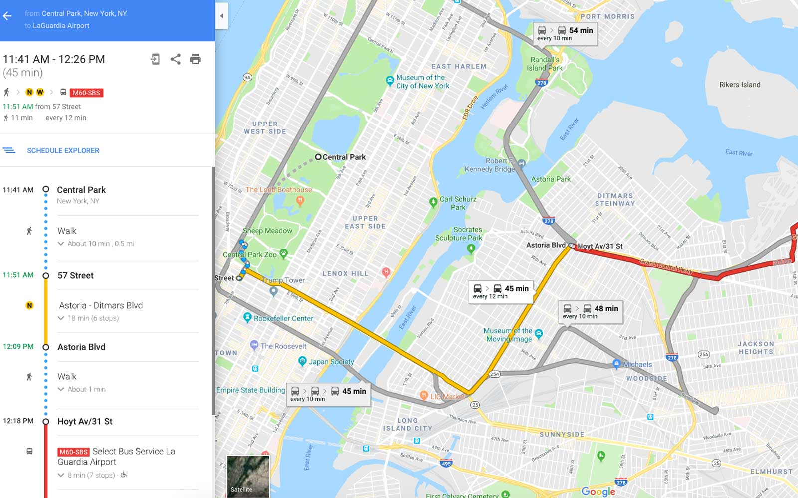 Google Maps directions for public transit