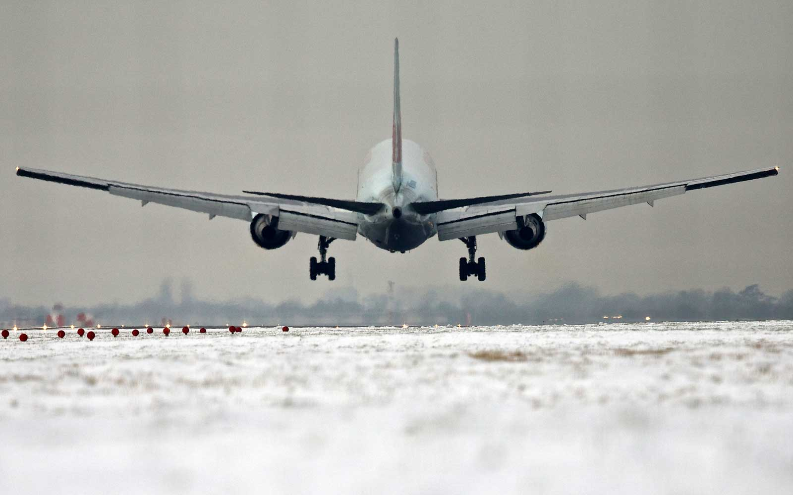 Heathrow Airport in London in snow