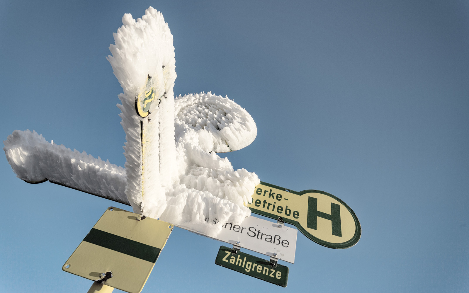 Ice Covered Bus Stop Sign, Zugspitze, Bavaria, Germany