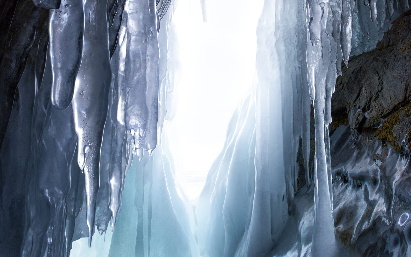 Icicles Hanging in Cave, Siberia, Russia