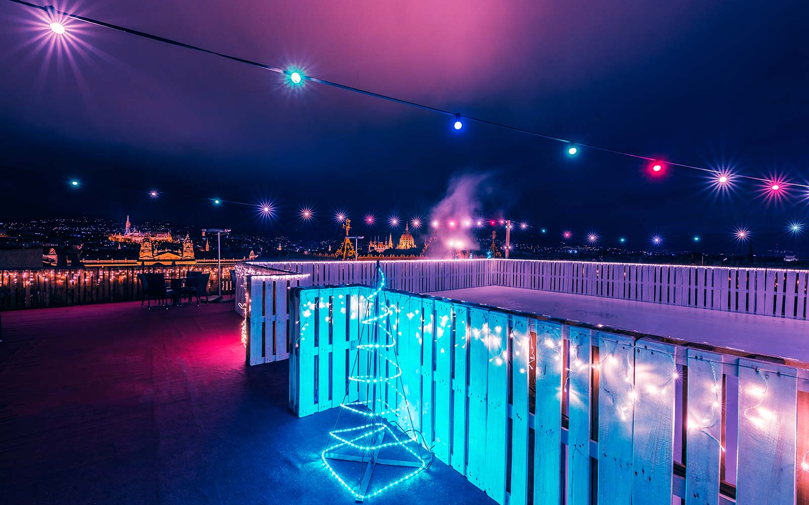 Intermezzo Ice Terrace Bar Restaurant Rooftop Skating Rink Hotel President Budapest