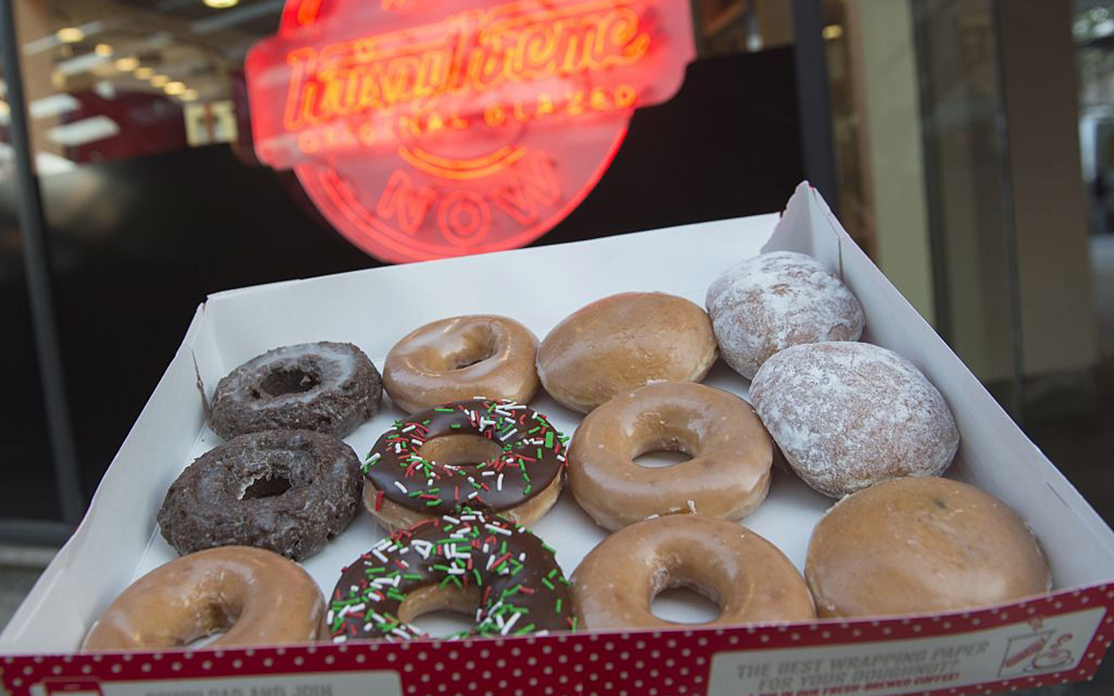 Krispy Kreme doughnuts are seen outside their store in Washington, DC, December 1, 2016. / AFP / SAUL LOEB        (Photo credit should read SAUL LOEB/AFP/Getty Images)