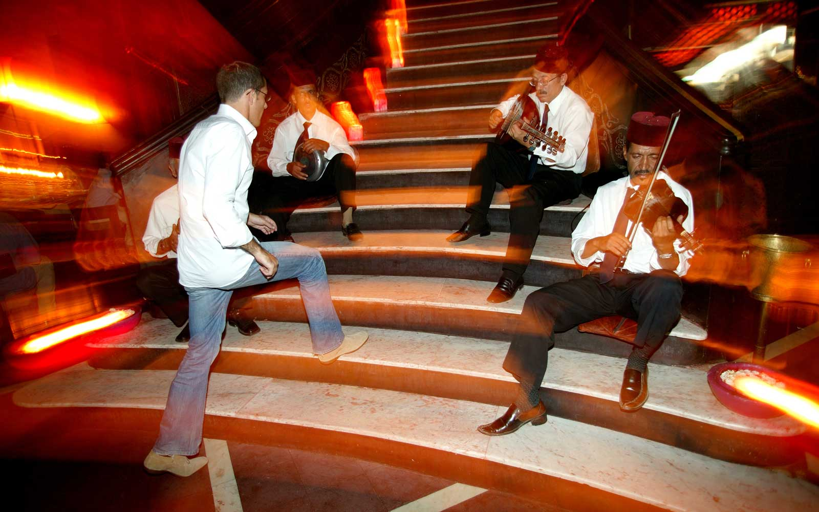 The band on the stairs at Comptoir, in Marrakech