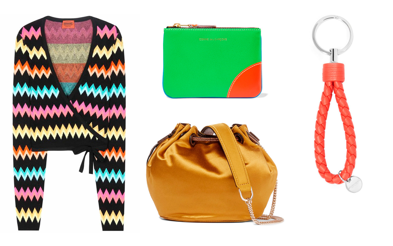 Designer items: Knitted sweater, bag, wallet, keychain
