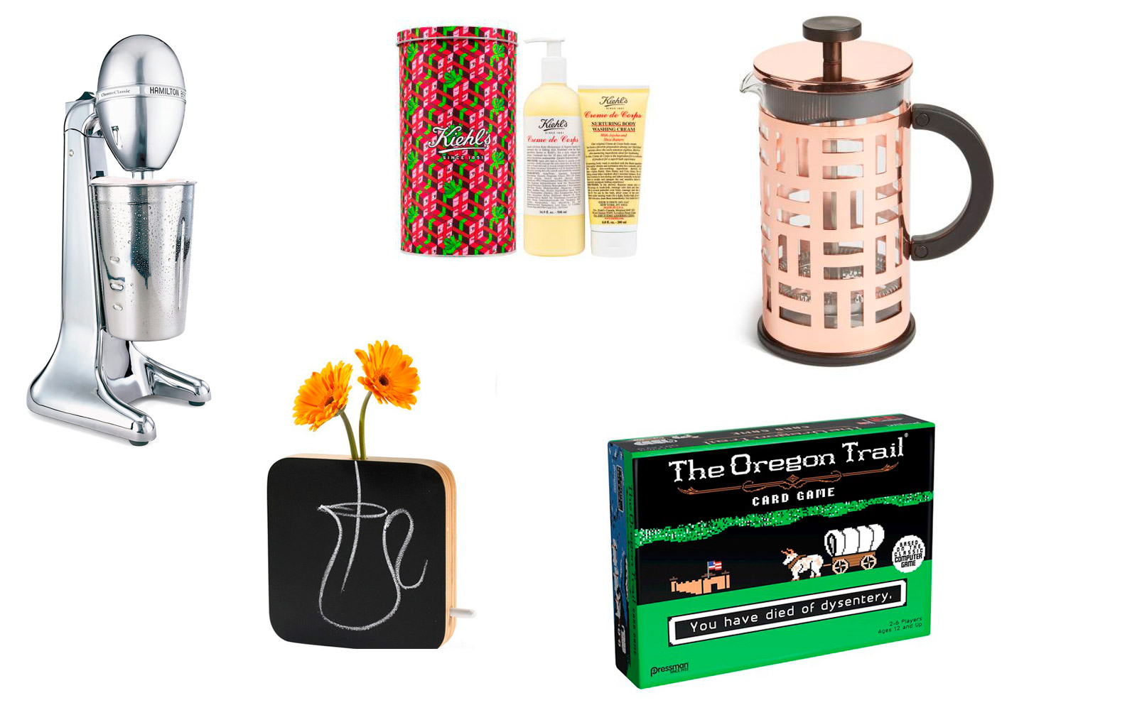 2-drink mixer, french press, Kiehl's lotion, flower pot chalk board, Oregon Trail card game