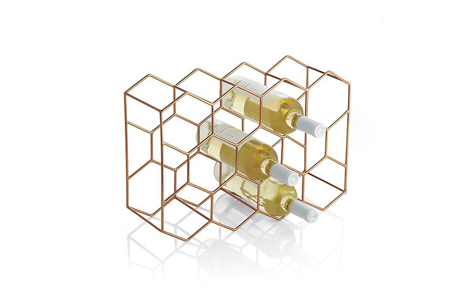 Crate and Barrel 11-Bottle Wine Rack Copper