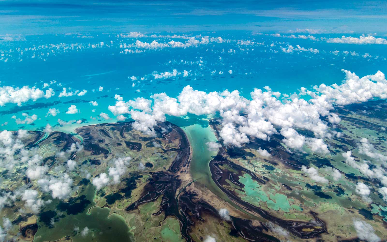 Andros Island in the Bahamas from a jet airplane window
