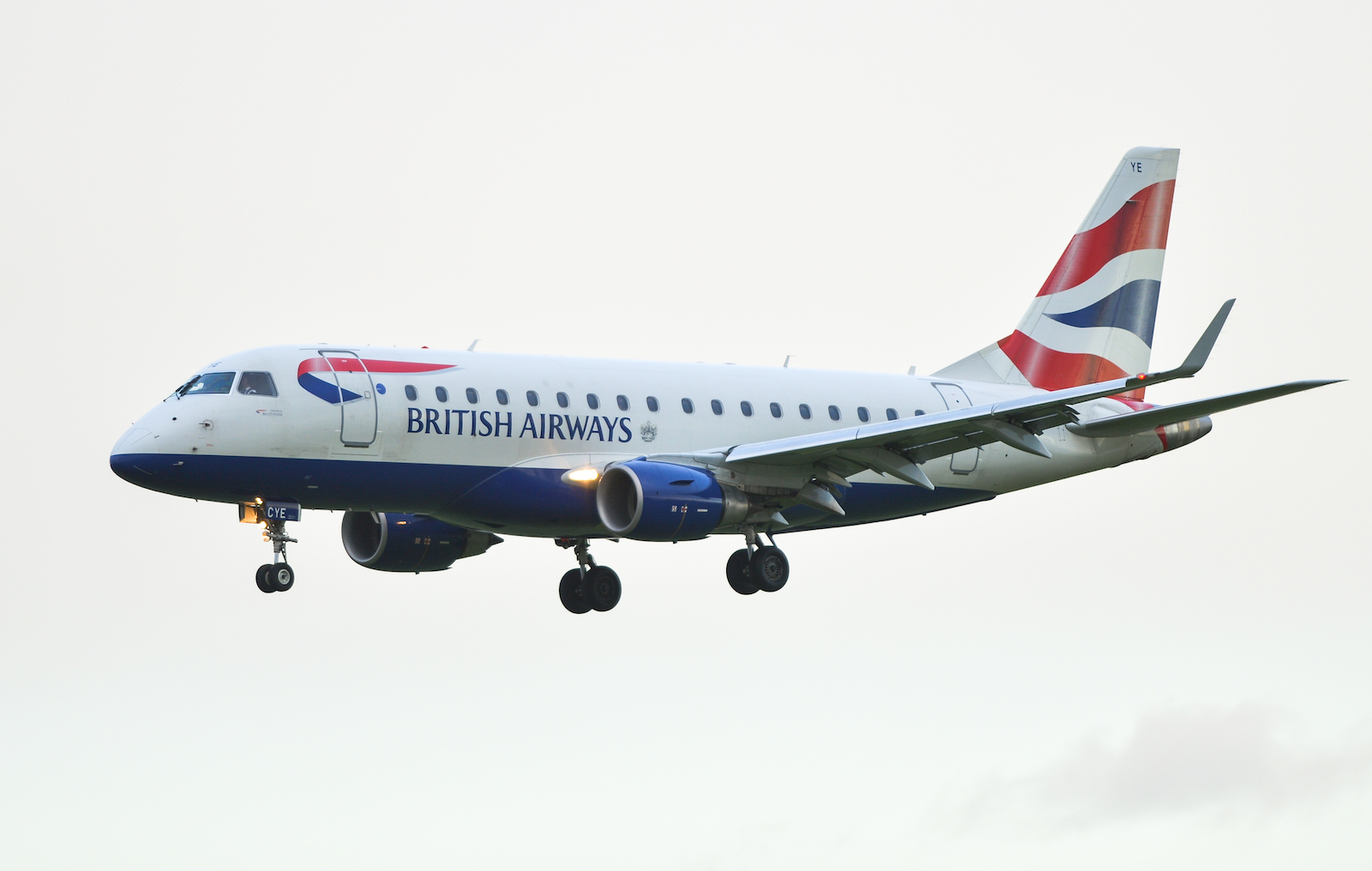 A British Airways plane is about to land on the runway at Dublin airport.