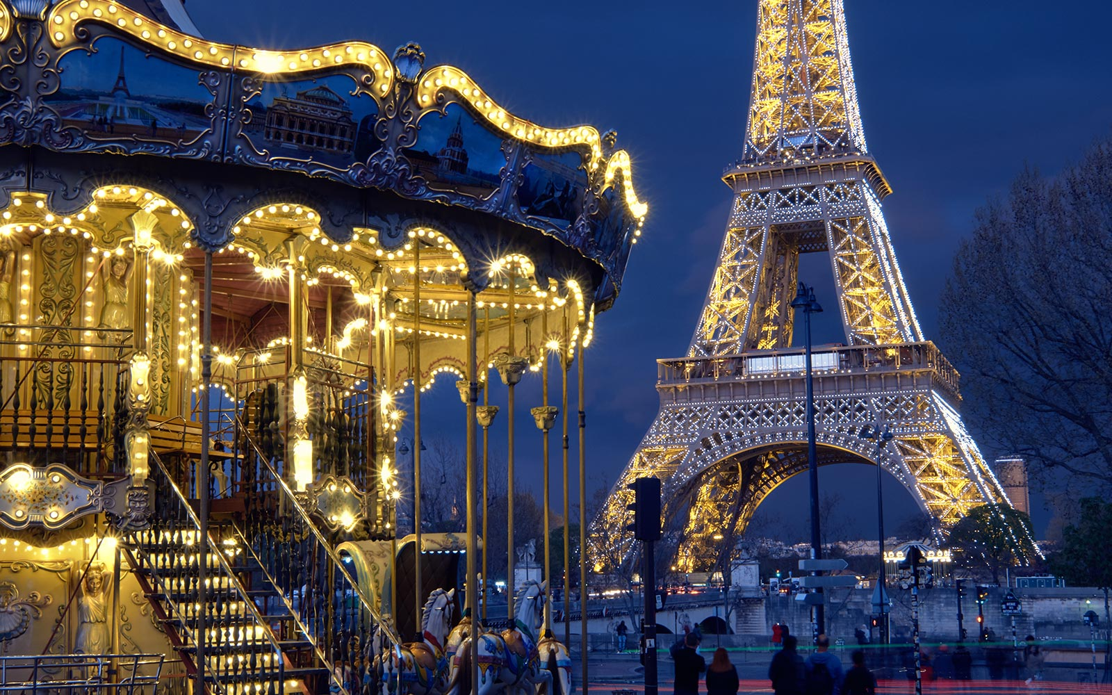 Eiffel Tower Landmark Paris France Carousel