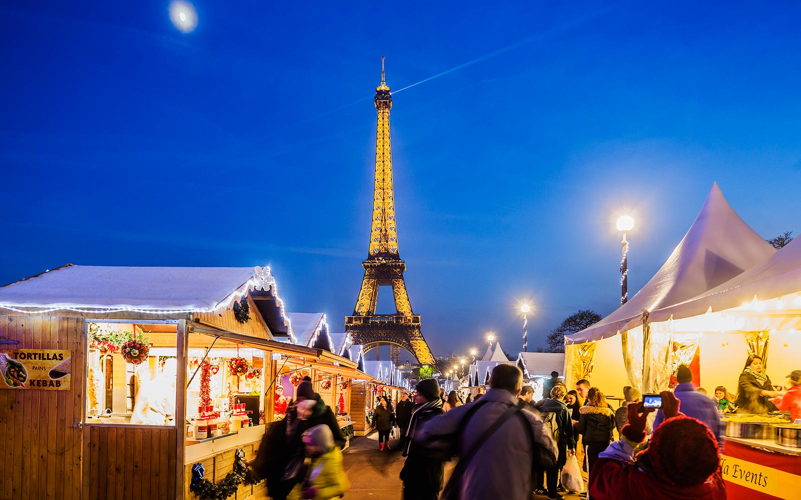 Eiffel Tower Landmark Paris France Christmas Market