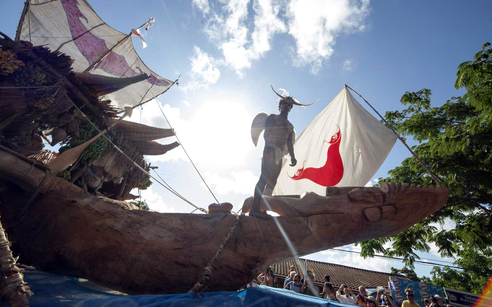 The Vaka made from a Eucalyptus tree seen during the parade on Easter Island during the Tapati Rapa Nui festival