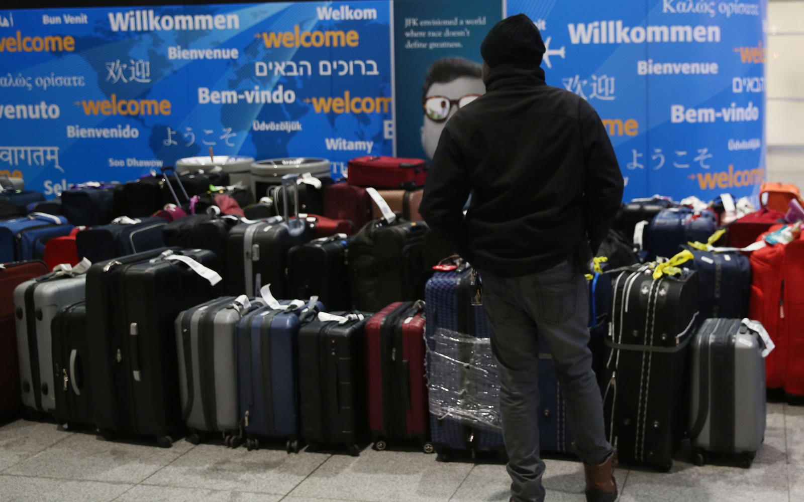 Thousands of bags were left at JFK airport after the winter storm problems.