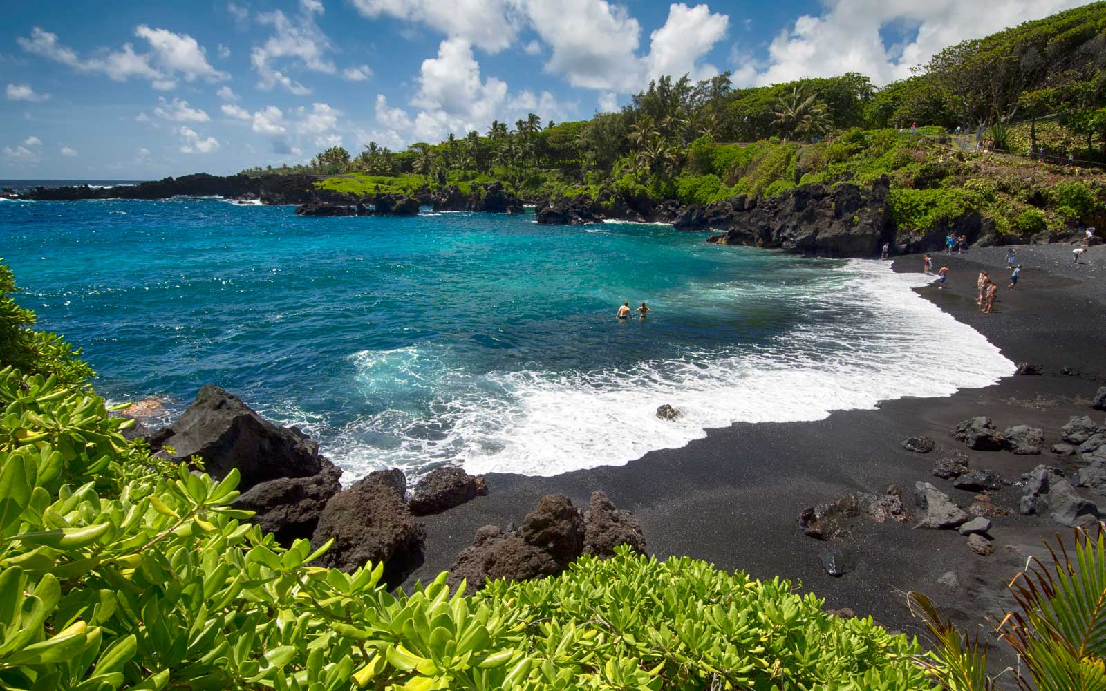 Black Sand Beach on Maui island, Hawaii