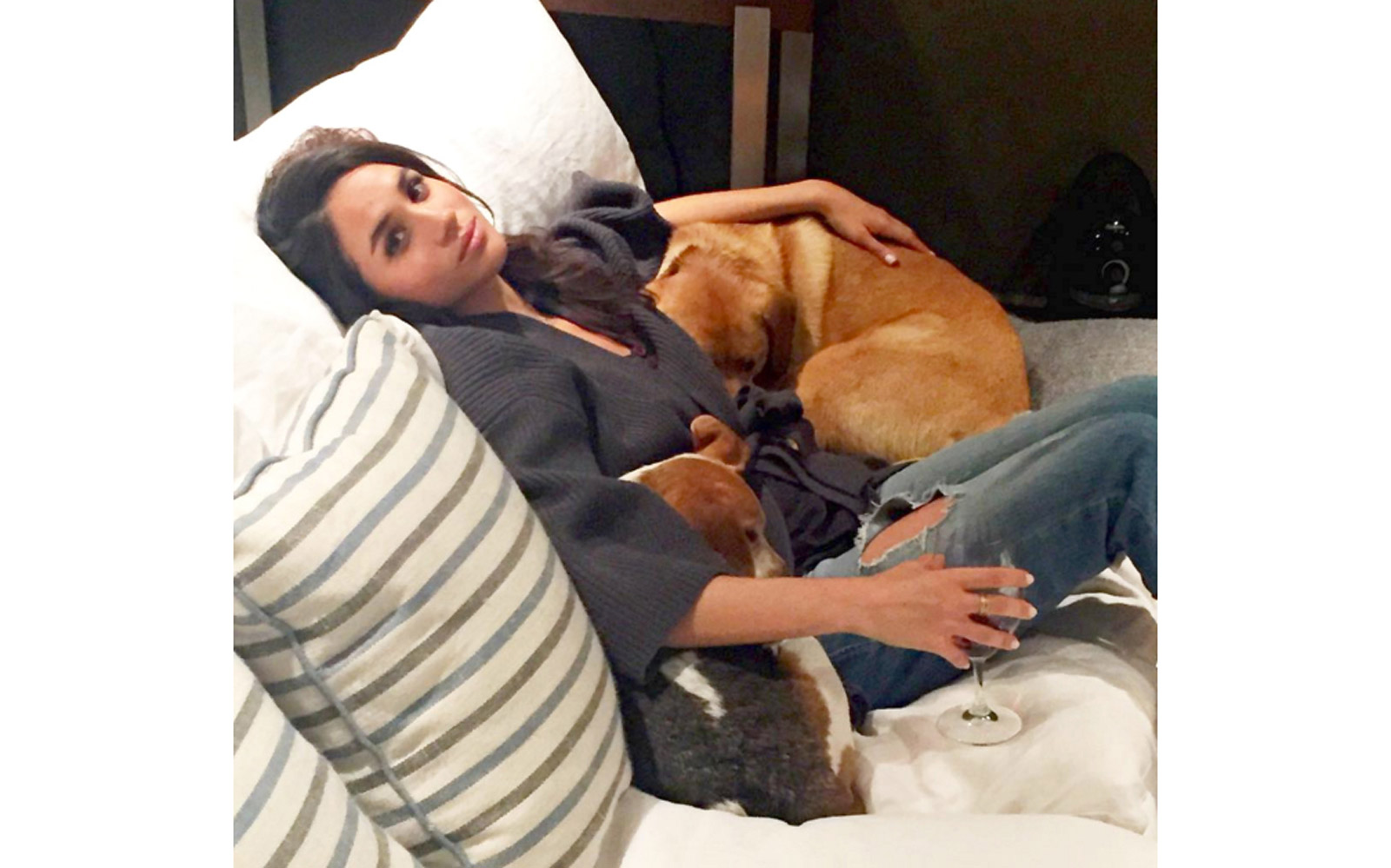 Meghan Markle cuddling with her rescue dogs