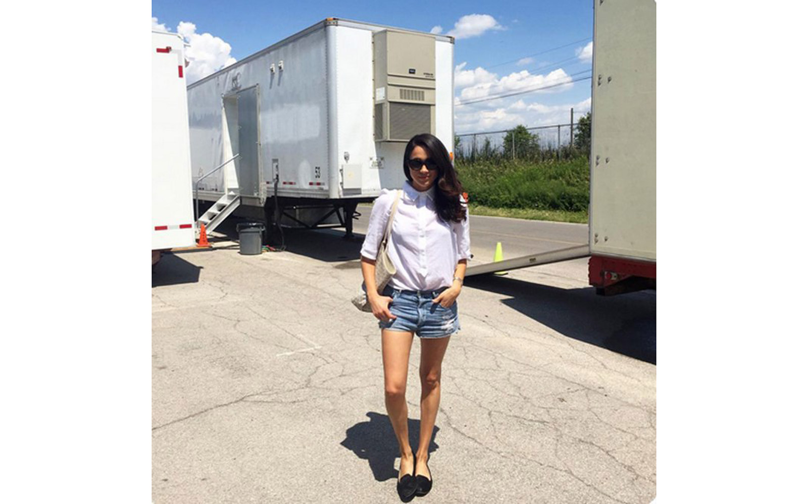 Meghan Markle on the set of 'Suits'