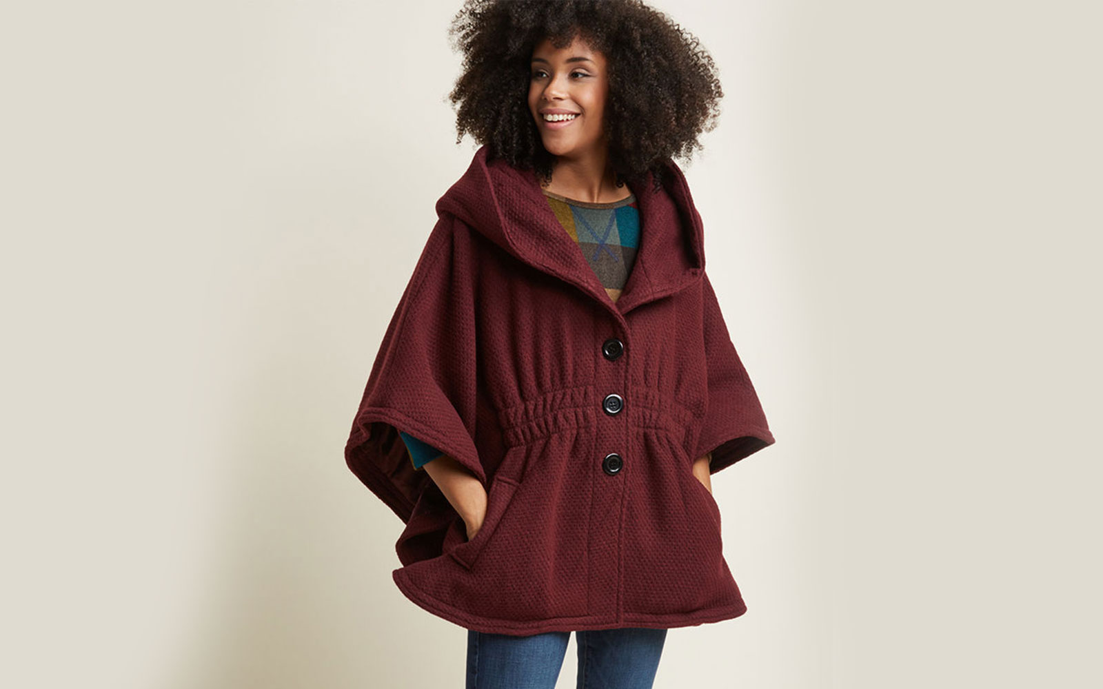 Modcloth Women's 'Hood if I Could' Cape Coat