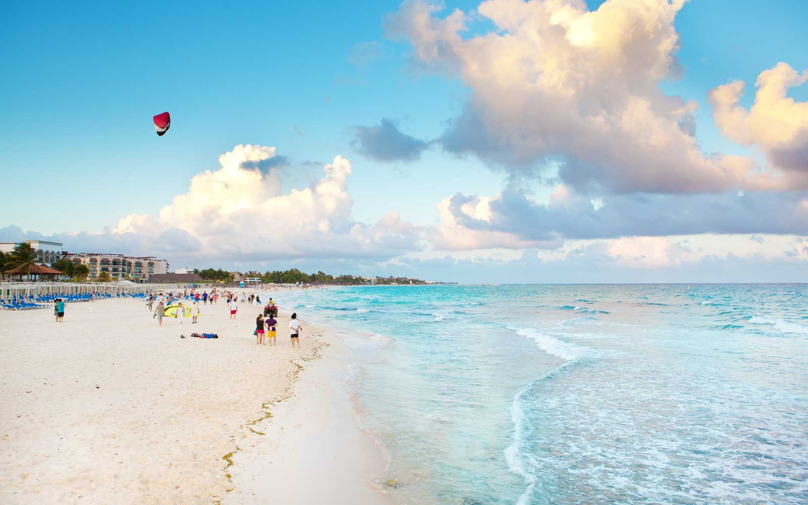 Beachgoers at Playa del Carmen, in Mexico