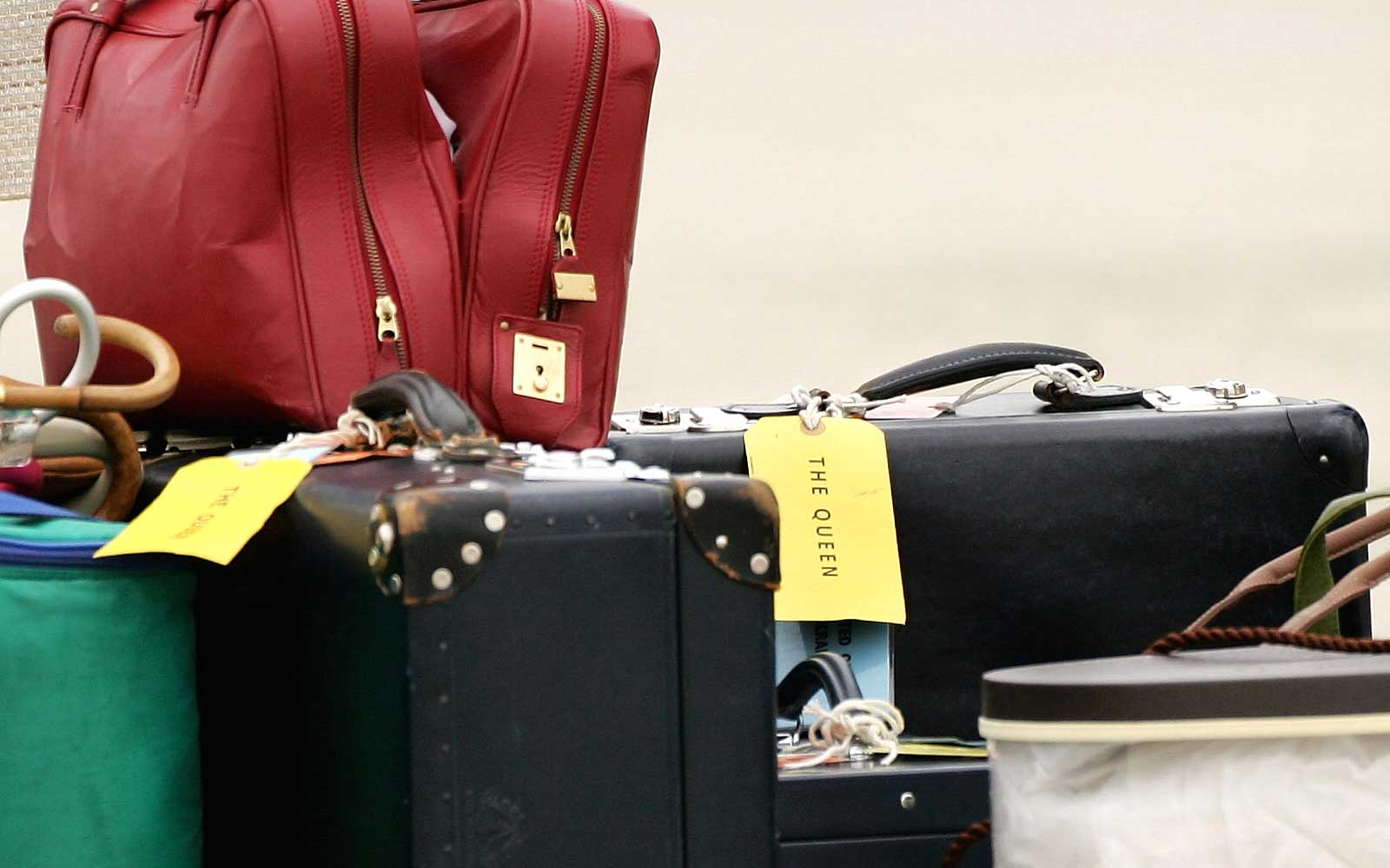 Luggage belonging to HRH Queen Elizabeth II arrives at Richmond International Airport