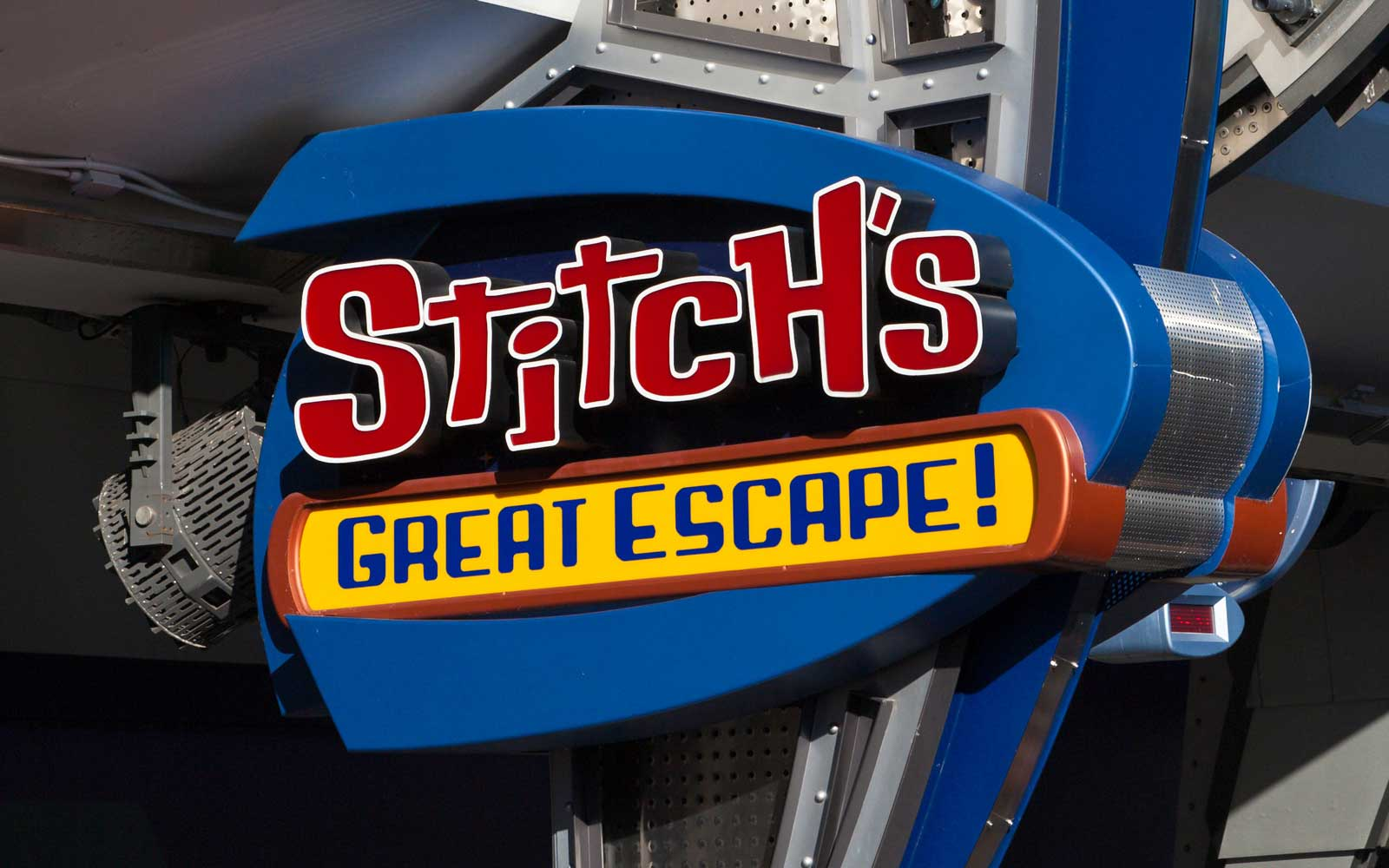 Sign for Stitch's Great Escape ride at Magic Kingdom, Walt Disney World