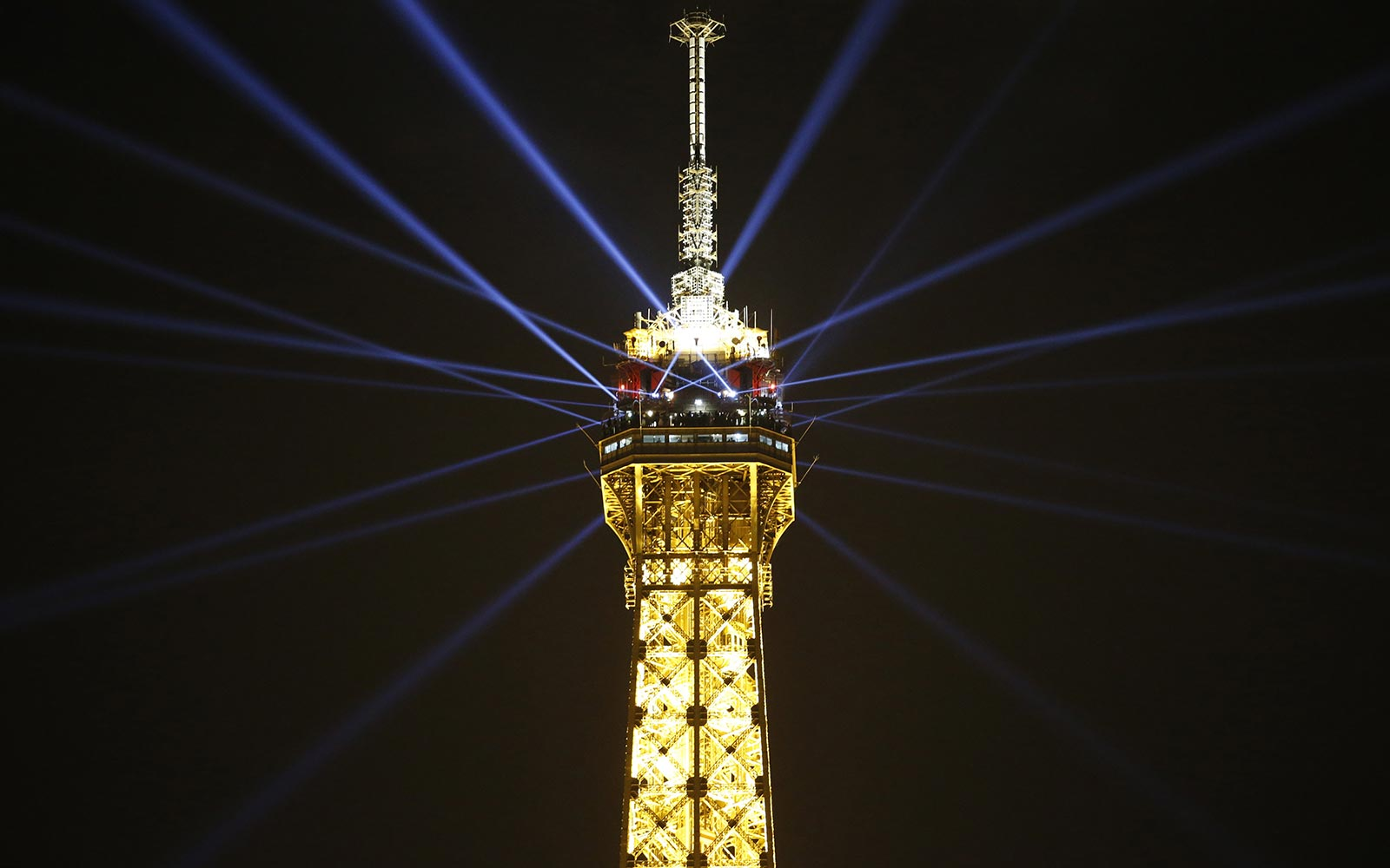 Eiffel Tower Landmark Paris France Light Show