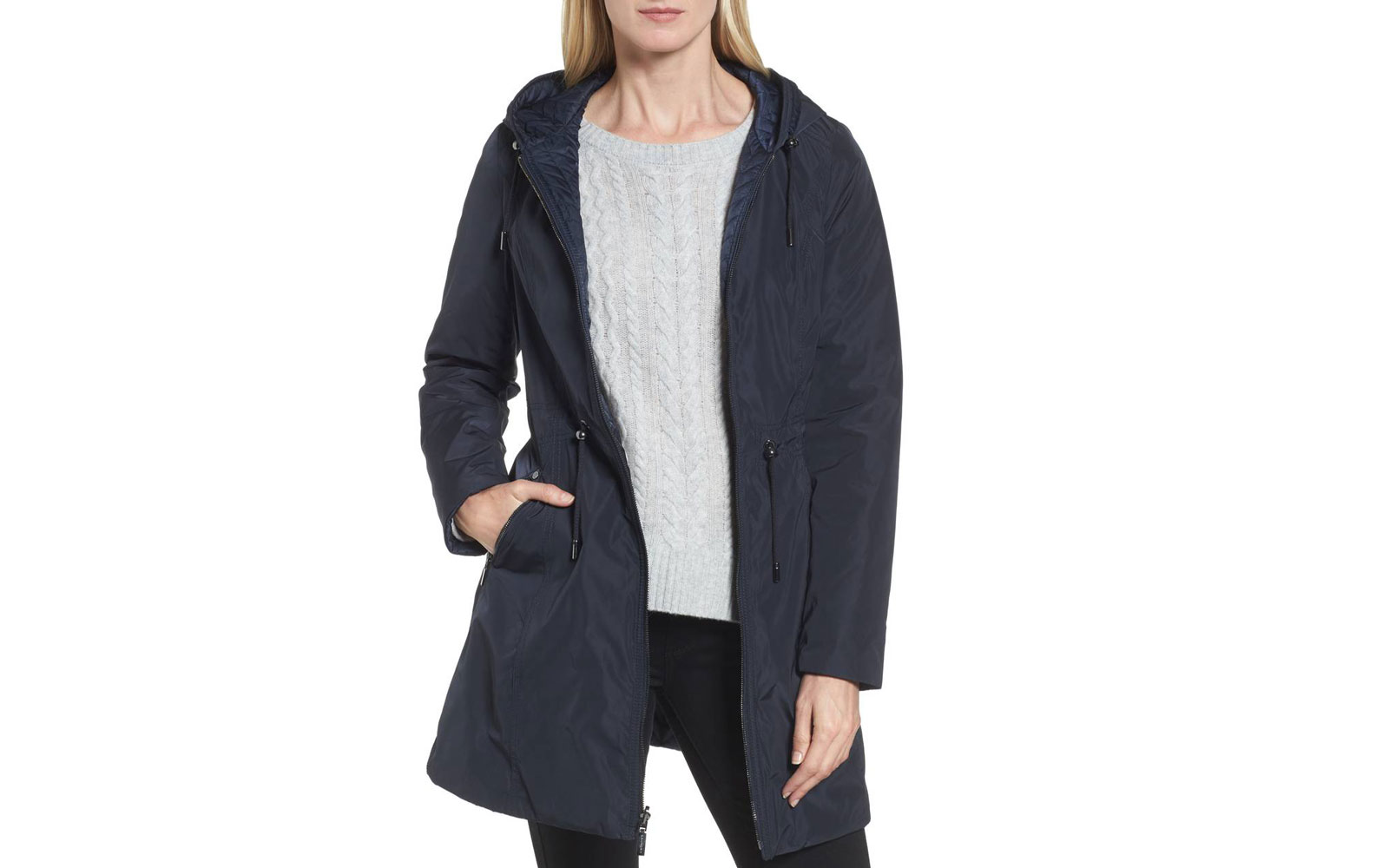 Laundry by Shelli Segal Women's Hooded Reversible Windbreaker Jacket