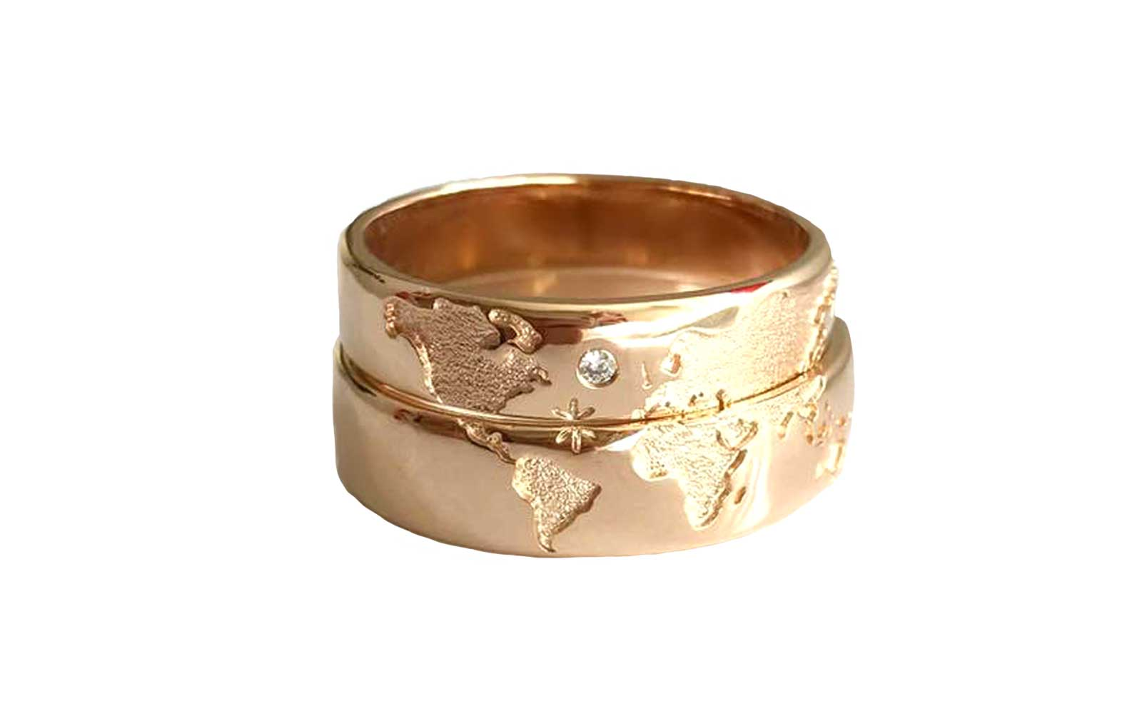 World Map Wedding Bands