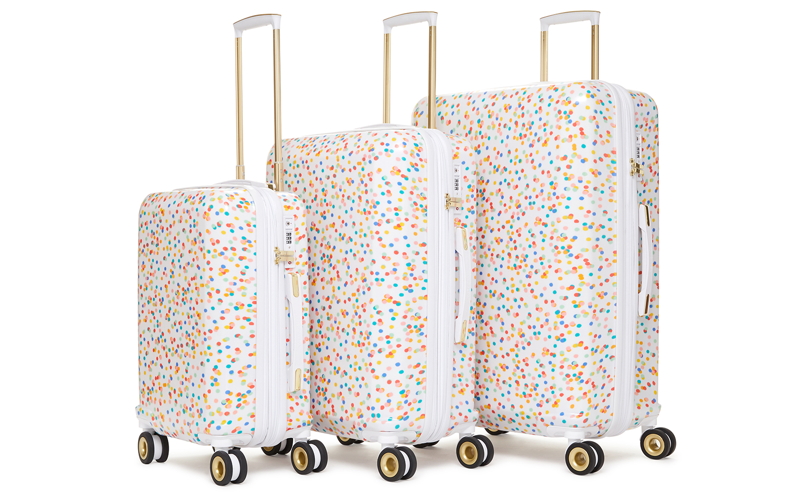 28-inch, 24-inch, and 20-inch Hardshell Spinner Set in Confetti