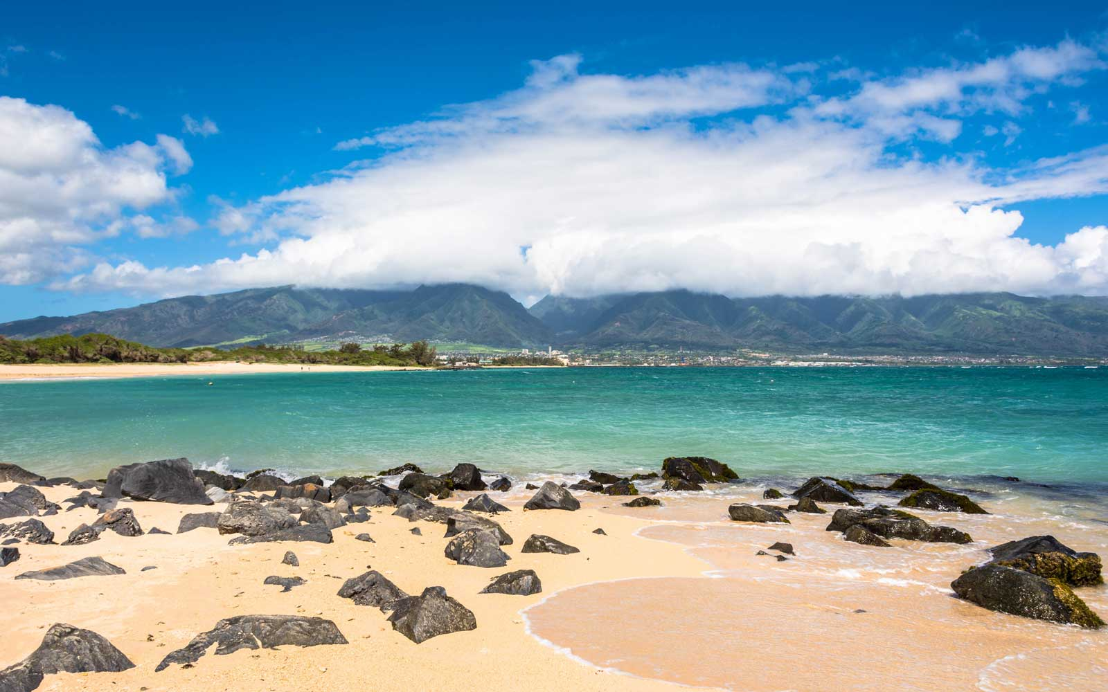View of Kahului from Kanaha Beach in Maui