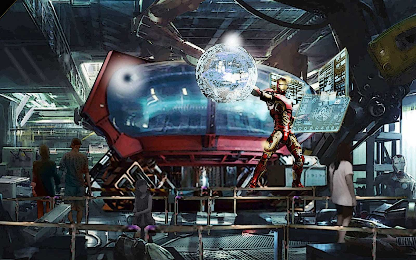 Iron Man and Marvel Rollercoaster concept art for Disneyland Paris