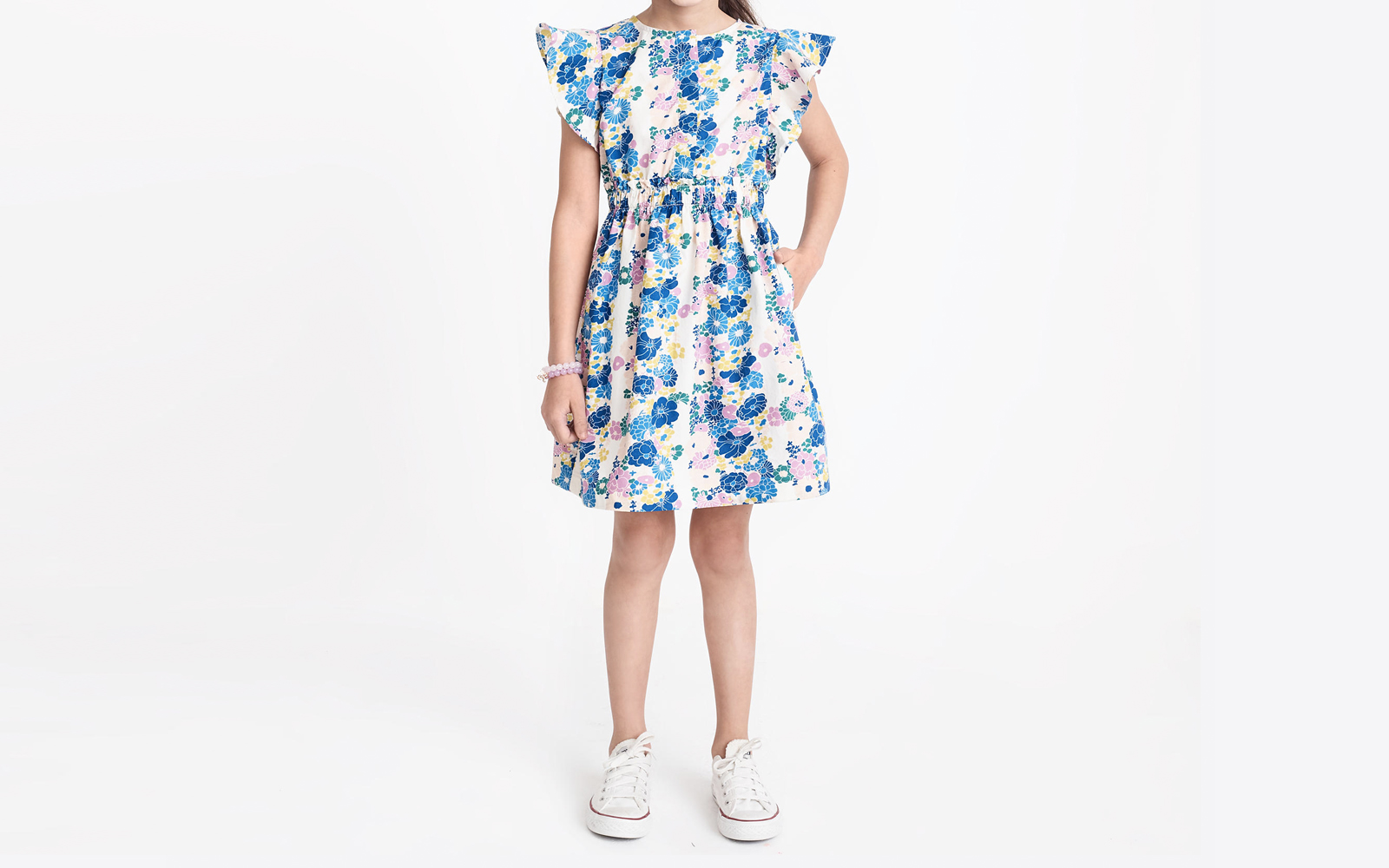 Girls' Floral Printed Flutter-sleeve Dress