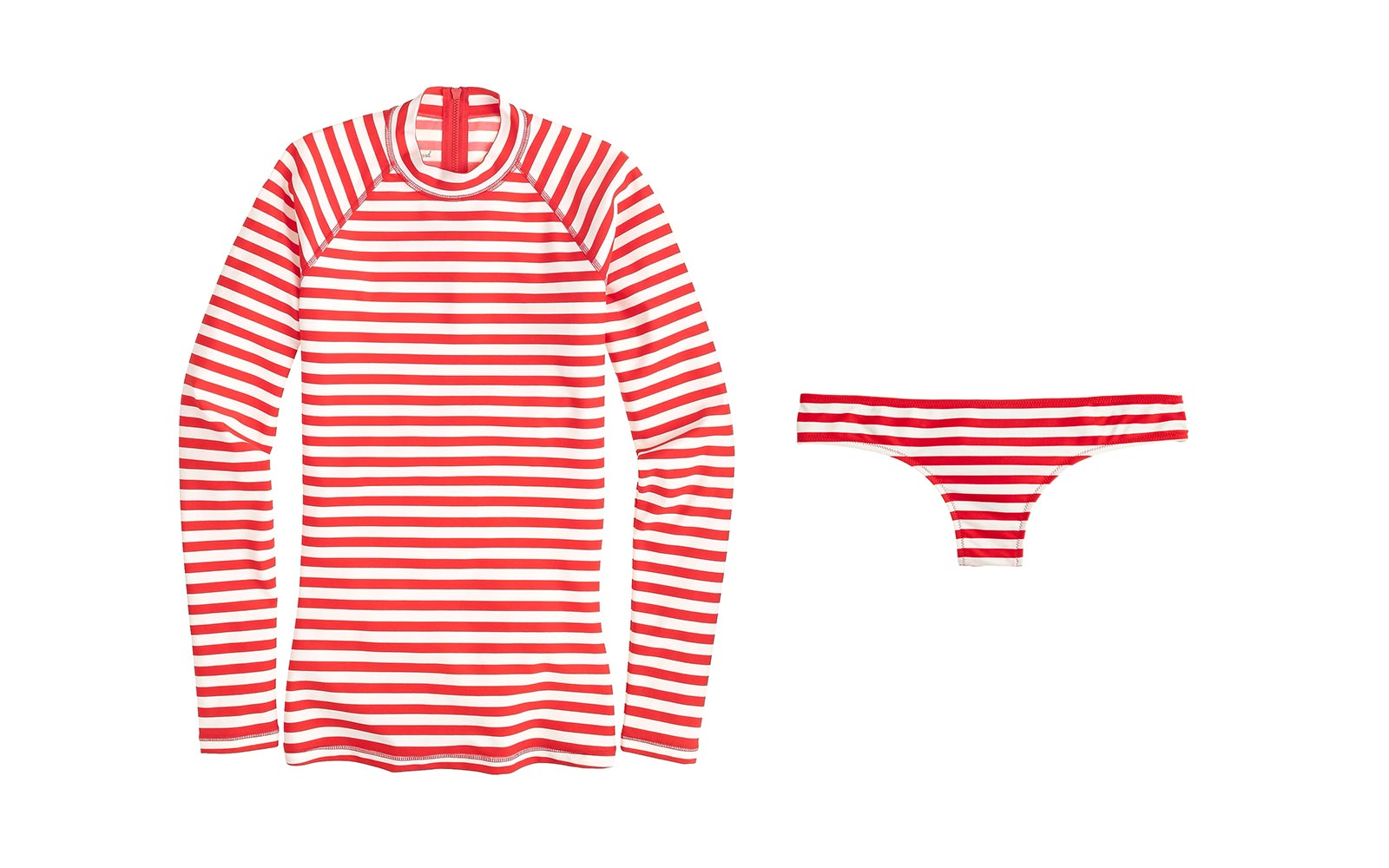 J.Crew Long-sleeve Rash Guard in Classic Stripe and Surf Hipster Bottom in Stripe