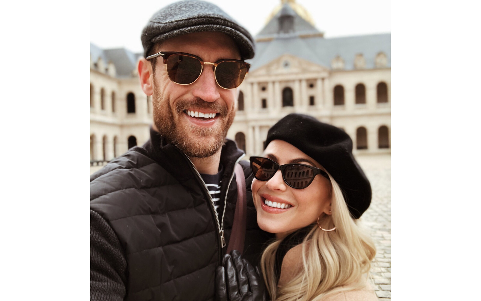 Julianne Hough and Brooks Laich taking a selfie on the streets of Paris