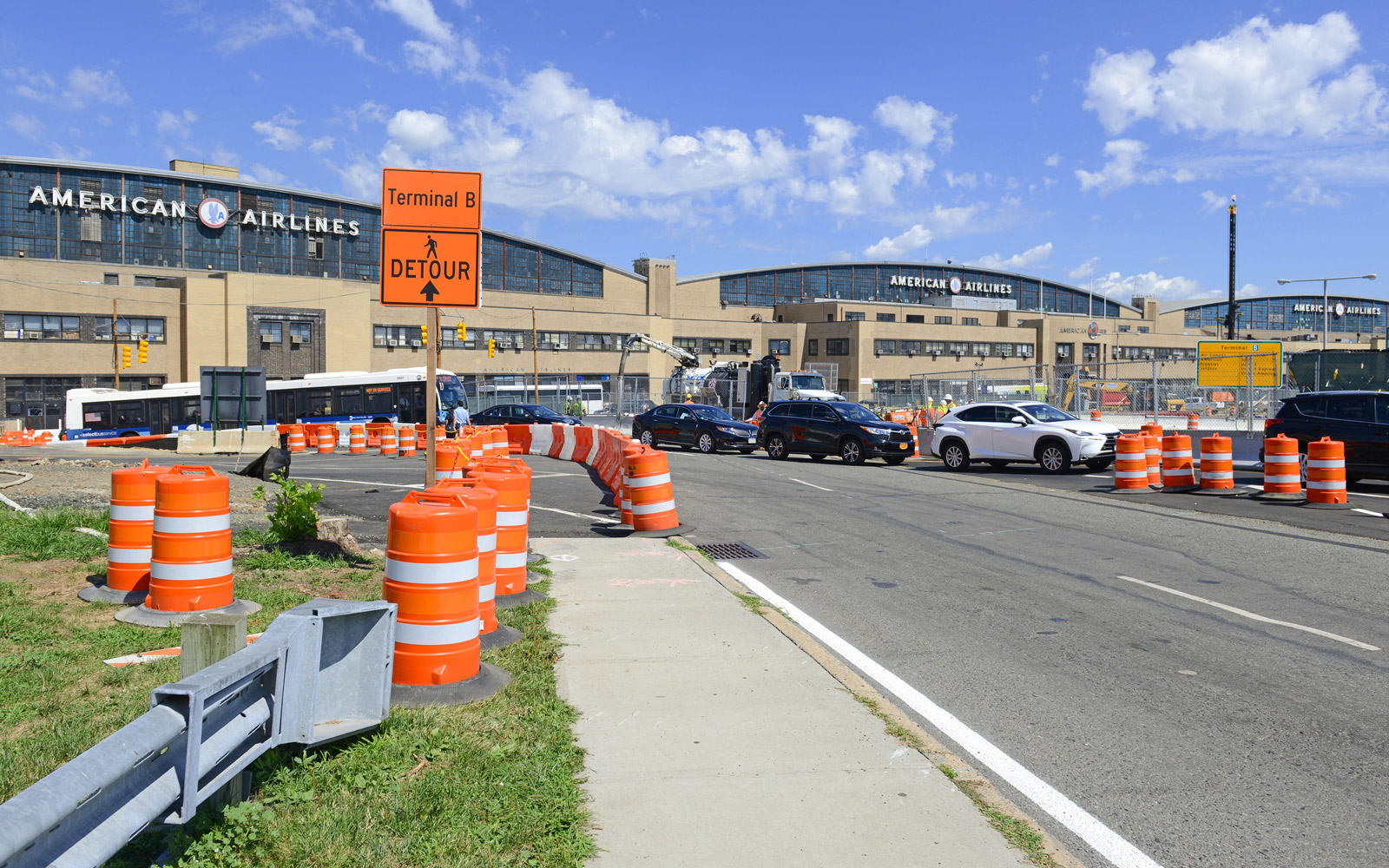 Traffic delays and construction at LaGuardia Airport in New York