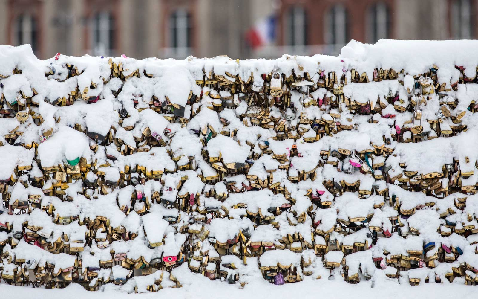 Paris Love Locks covered in snow
